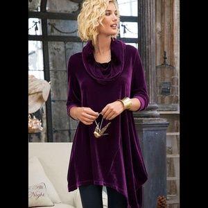 Soft Surroundings Purple Velvet Asymmetric Tunic L